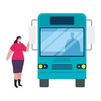 social distancing with woman wearing medical mask in bus station, city community transport with diverse commuters together, prevention coronavirus covid 19