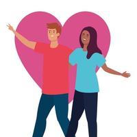 pareja feliz con fondo de corazón, estilo de vida saludable, celebrando las vacaciones