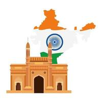 gateway, famous monument with map of india vector