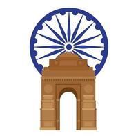 india gate, famous monument with blue ashoka wheel indian vector