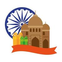india mosque, famous monument with blue ashoka wheel indian and gift boxes vector