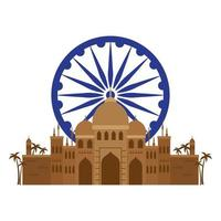 taj mahal, famoso monumento con la rueda de ashoka azul indio vector