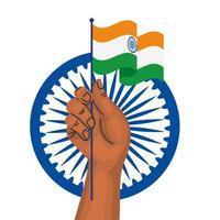 Mano con la bandera de la India y la rueda de Ashoka azul símbolo indio sobre fondo blanco. vector
