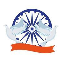 símbolo indio de la rueda de ashoka azul, chakra de ashoka con palomas volando y cinta vector