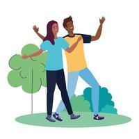 feliz pareja afro en el paisaje, estilo de vida saludable, celebrando las vacaciones vector