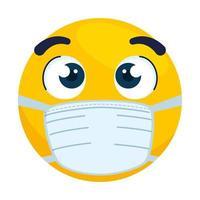 emoji con ojos abiertos con máscara médica, cara amarilla con ojos abiertos con icono de máscara quirúrgica blanca vector