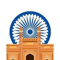 gateway, famous monument with blue ashoka wheel indian symbol vector