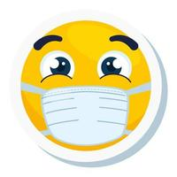 emoji wearing medical mask, yellow face using white surgical mask icon vector