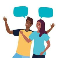 happy couple talking with speech bubbles, celebrating holiday vector