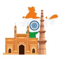 gateway with qutub minar and map india, famous monuments of india on white background vector