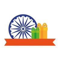 símbolo indio de la rueda de ashoka azul, chakra de ashoka con cajas de regalo y cinta vector