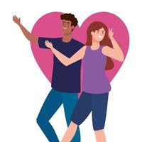 happy couple with heart background, healthy lifestyle, celebrating holiday vector
