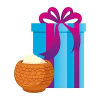 recipiente de cerámica con polvo con caja de regalo, celebración santa vector