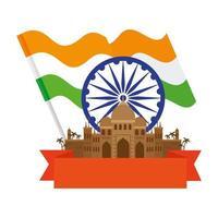 Taj Mahal, famoso monumento con rueda de ashoka azul y bandera india vector