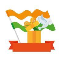 Paloma Blanca que sale de la caja de regalo con banderas de la India y cinta sobre fondo blanco. vector
