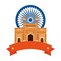 gateway, famous monument with blue ashoka wheel indian symbol and ribbon vector