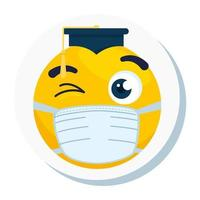 emoji with hat graduation wearing medical mask, yellow face with hat graduation wearing white surgical mask icon vector