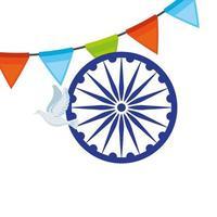 símbolo indio de la rueda de ashoka azul, chakra de ashoka con paloma volando y guirnalda colgando vector