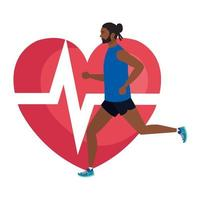 man afro running with heart pulse on background, male afro athlete with cardiology heart vector