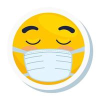 emoji con los ojos cerrados con máscara médica, cara amarilla con los ojos cerrados con el icono de máscara quirúrgica blanca vector