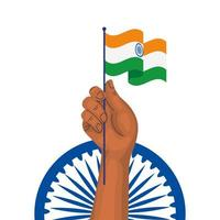 hand with india flag and blue ashoka wheel indian symbol on white background vector