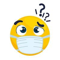 emoji thoughtful wearing medical mask, yellow face thoughtful with a white surgical mask icon vector