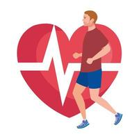 man running with heart pulse on background, male athlete with cardiology heart vector