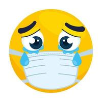 emoji llorando con máscara médica, cara amarilla llorando con icono de máscara quirúrgica blanca vector