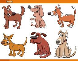Conjunto de personajes de animales de dibujos animados de perros y cachorros vector