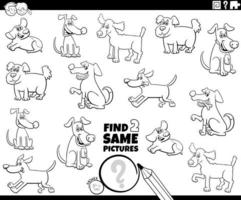 find two same dogs game coloring book page vector