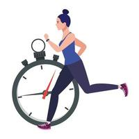 woman running with stopwatch, female athlete with chronometer on white background vector