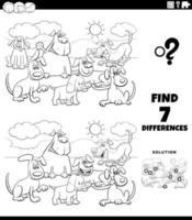 Tarea de diferencias con perros de dibujos animados página de libro de color vector