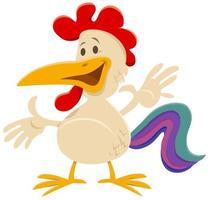 happy cartoon rooster farm animal comic character vector