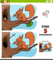 Diferencias tarea educativa para niños con ardilla y bellotas. vector