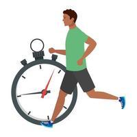 Hombre afro corriendo con cronómetro, hombre afro en ropa deportiva trotar, atleta afro masculino con cronómetro sobre fondo blanco. vector