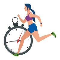 Mujer corriendo con cronómetro, atleta femenina con cronómetro sobre fondo blanco. vector