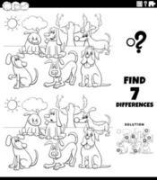 Diferencias tarea con perros de dibujos animados página de libro para colorear vector