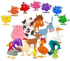 basic colors for children with farm animal characters group