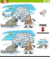 diferencias tarea educativa para niños con esquimal e iglú y morsa vector