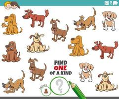 one of a kind game for kids with funny dogs vector