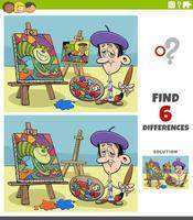 Diferencias tarea educativa para niños con pintor artista. vector