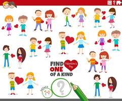 juego único con parejas de niños de dibujos animados en san valentín vector