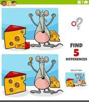 Diferencias tarea educativa para niños con ratón y queso. vector