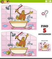 Diferencias tarea educativa para niños con simios tomando un baño. vector