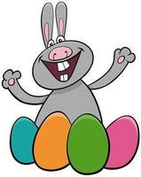 Easter bunny with eggs cartoon illustration vector