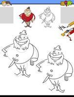 tarea de dibujo y coloración con personaje pirata vector