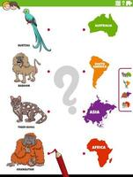 emparejar especies de animales y continentes juego educativo vector