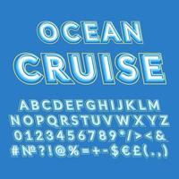 océano crucero vintage 3d vector alfabeto conjunto