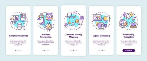 Digital consulting components onboarding mobile app page screen with concepts