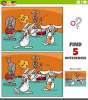 differences educational task for kids with cartoon rabbits rock music band